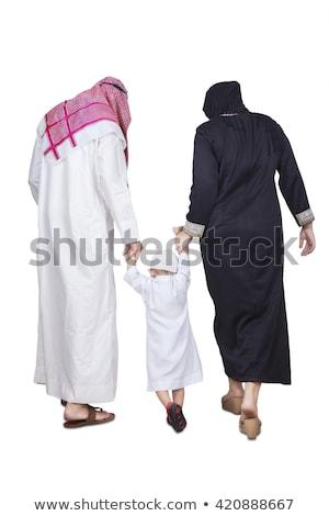 Stockfoto: Saudi · familie · moslim · arabisch · geïsoleerd · witte