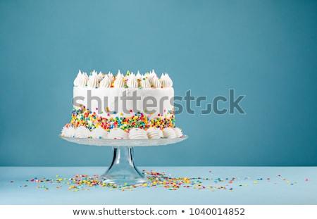 Születésnap díszített torta színes léggömb buli Stock fotó © Sibstock