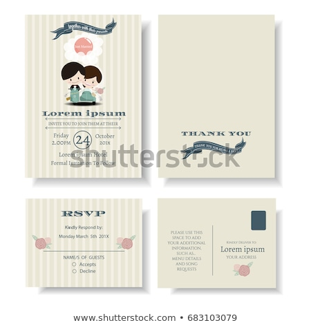 vector illustration of young happy newlyweds bride and groom rid stock photo © curiosity