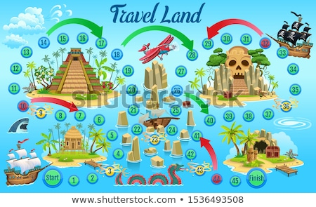 vector flat style illustration of kids pirate board game stock photo © curiosity