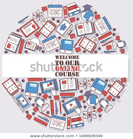 round composition of online education  symbols stock photo © curiosity