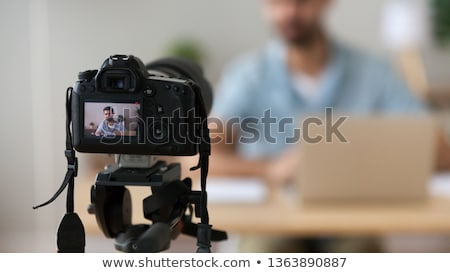 man that records video blog. Vlog concept. Stock photo © curiosity
