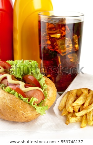 Hotdog sültkrumpli szalvéta üveg kóla klasszikus Stock fotó © dla4