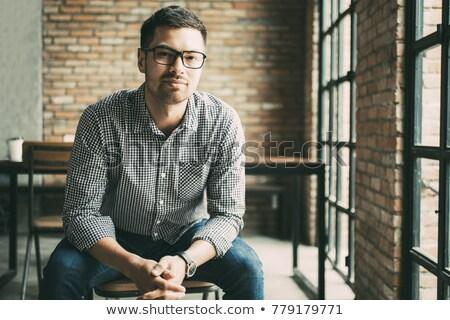 Hombre grave mirar retrato calvo traje Foto stock © filipw