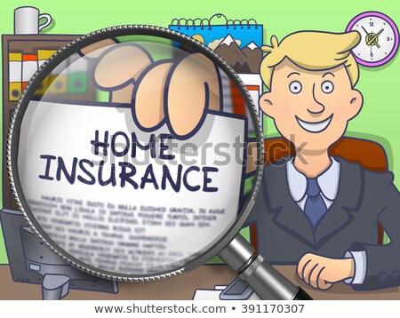 住宅保険 虫眼鏡 いたずら書き スタイル 紙 文字 ストックフォト © tashatuvango