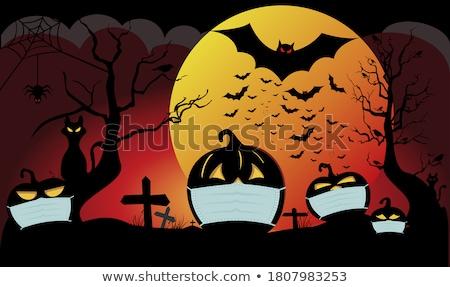 Stockfoto: Halloween · vector · volle · maan · bewolkt · nacht