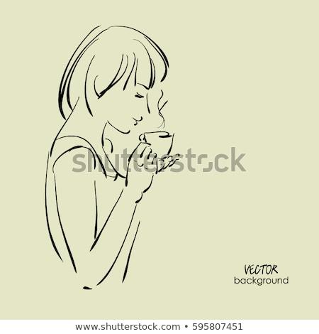 наслаждаться · чай · кафе · женщины · счастливым - Сток-фото © monkey_business