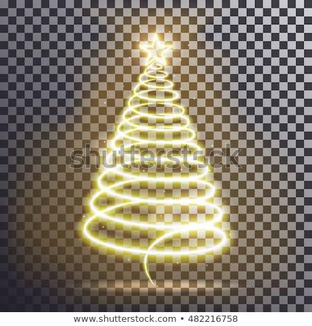 Foto stock: Golden Swirl Christmas Tree Design With Sparkles