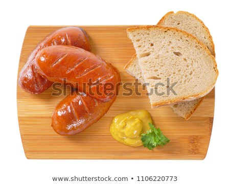 Stock fotó: Rövid · kolbászok · kenyér · szeletek · mustár · fából · készült