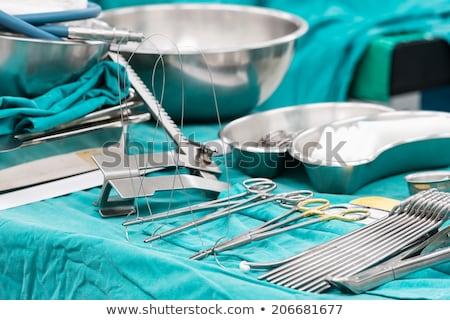 tálca · sebészi · olló · tiszta · ezüst · műtét - stock fotó © is2