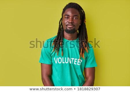Young african-american happy man gesturing. Stock photo © RAStudio