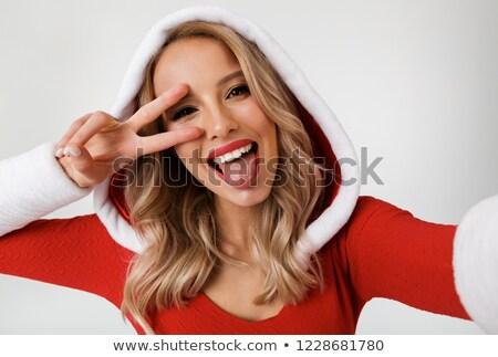 szépség · női · arc · piros · ajkak · vektor · portré · gyönyörű · nő - stock fotó © rogistok