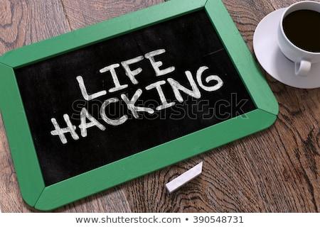small chalkboard with life hacking concept 3d stock photo © tashatuvango