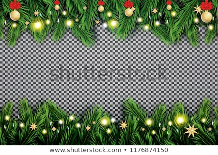 christmas wreath of fir branches on transparent green background holiday decoration christmas balls stock photo © orensila