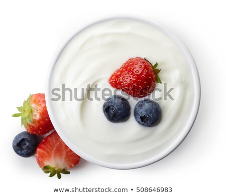 desayuno · griego · yogurt · rosa · limpio · comer - foto stock © yuliyagontar