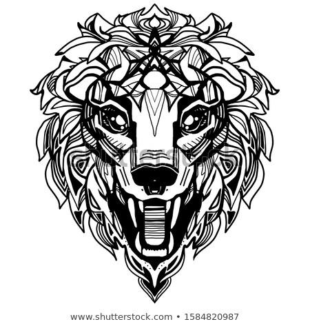 oroszlán · ikon · sziluett · póló · izolált · fehér - stock fotó © NikoDzhi