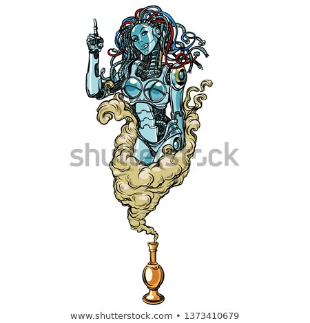 Isolated on white background. Female robot the Genie of the lamp Stock photo © studiostoks