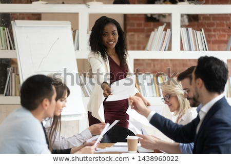 African speaker doing business presentation stock photo © studioworkstock