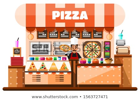 Italian pizzeria interior banner in cartoon style Stock photo © studioworkstock