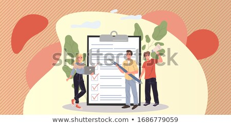 Vragenlijst vergrootglas business glas verslag magnify Stockfoto © devon