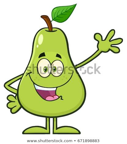 Heureux poire fruits feuille verte mascotte dessinée personnage Photo stock © hittoon