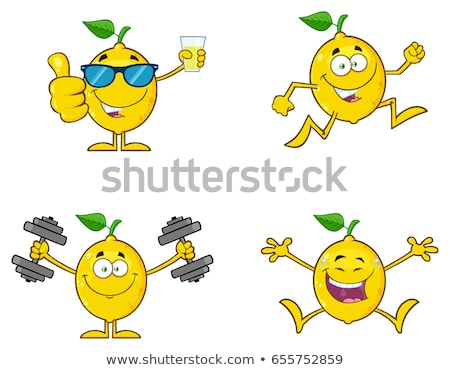 Lachend Geel citroen vers fruit groen blad cartoon mascotte Stockfoto © hittoon
