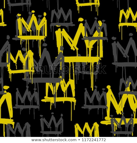 Seamless vector black pattern with king crowns stock photo © FoxysGraphic