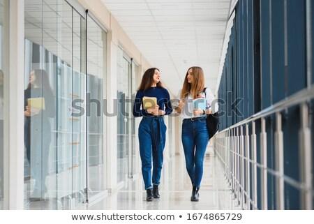 középiskola · diákok · iskola · folyosó · lányok · beszél - stock fotó © is2