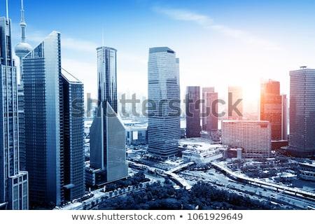 Többszörös iroda tornyok alulról fotózva lövés futurisztikus Stock fotó © unkreatives