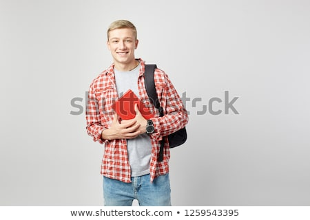 happy man wearing red checkers shirt with hand on shoulder Stock photo © feedough