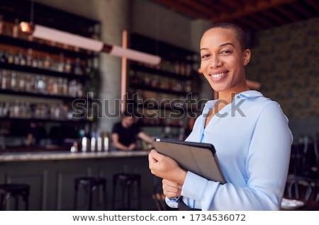 Foto stock: Computador · proprietário · pensando · reparar · sorrir
