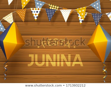 festa junina illustration with party flags and paper lantern on blue background vector brazil june stock photo © articular