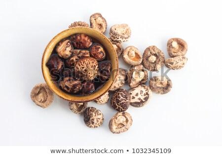 Stock fotó: Tál · aszalt · gombák · fehér · vág · kerámia