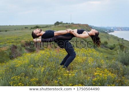 Sportoló tart sportoló hát szabadtér portré Stock fotó © boggy