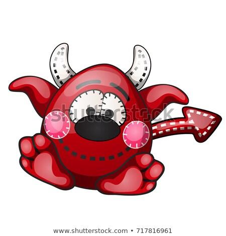 engraçado · vermelho · diabo · forma · pontilhado - foto stock © Lady-Luck