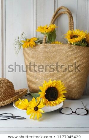 подсолнухи соломы кошелька таблице цветок Сток-фото © Sandralise