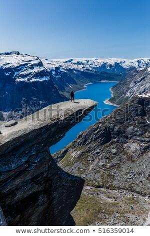 Trolltunga Rock and Ringedalsvatnet lake in Norway Stock photo © Kotenko