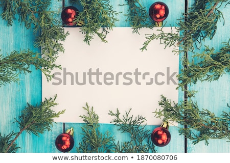 christmas card of people making pine tree at night stock photo © cienpies