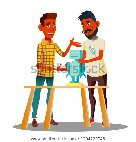 Two Smart Students Constructing A Robot In Classroom Vector. Isolated Illustration Stock photo © pikepicture