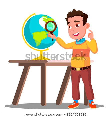 Student Looking Through A Magnifying Glass Globe, Geography Lesson Vector. Isolated Illustration Stock photo © pikepicture