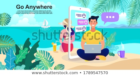 Foto stock: Women At Seaside Working Vector Illustration