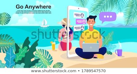 Stock fotó: Nők · vízpart · dolgozik · laptopot · használ · szörfdeszka · tenger