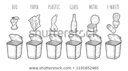 paper metal plastic glass organic and e waste set stock photo © robuart
