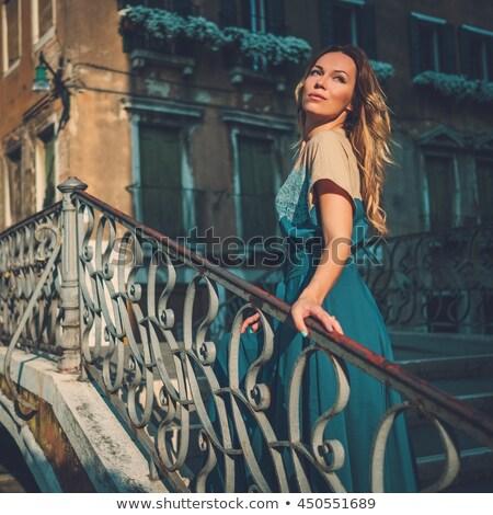 Venetië · vrouw · gelukkig · mode · rode · jurk · romantische - stockfoto © artfotodima