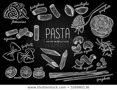 Foto stock: Negro · pizarra · italiano · pasta · todo · grano