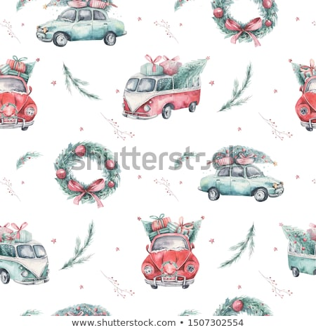 christmas seamless pattern with tree isolated foto d'archivio © voysla
