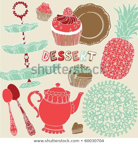 Chocolate creme ananás desenho animado estilo Foto stock © TasiPas