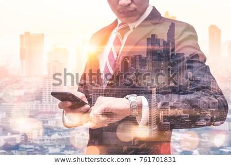 Stockfoto: Zakenman · smartphone · kantoor · verdubbelen · blootstelling · moderne