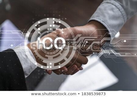 Financiële technologie business zakenman zakenvrouw Stockfoto © dolgachov