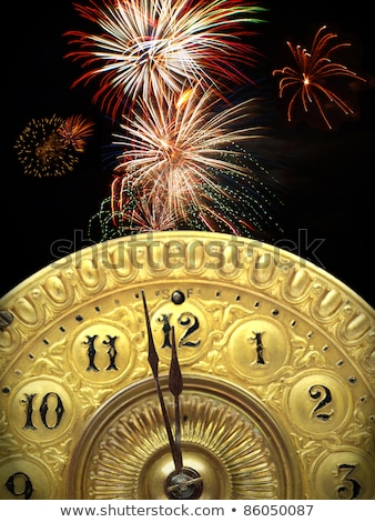 New Year Background with Clock Face and Fireworks Stock photo © derocz